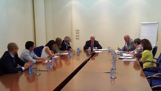 Imagen de la reunión con el consejero de Sanidad
