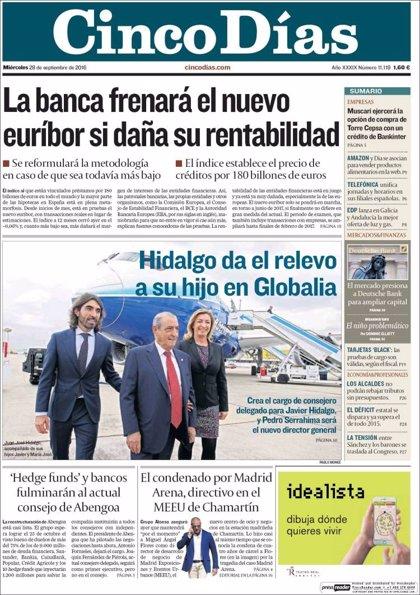 Las portadas de los periódicos económicos de hoy, miércoles 28 de septiembre