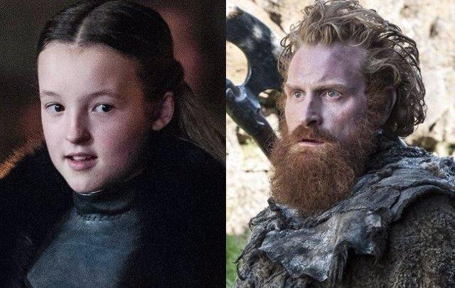Bella Ramsey es Lyanna Mormont y Kristofer Hivju es Tormund en Juego de tronos