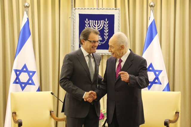 El presidente de la Generalitat, Artur Mas, y el de Israel, Shimon Peres