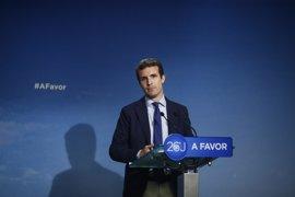 """Casado respeta las """"opiniones"""" de Felipe González, que son """"muy tenidas en cuenta"""" en el PSOE y en la sociedad española"""