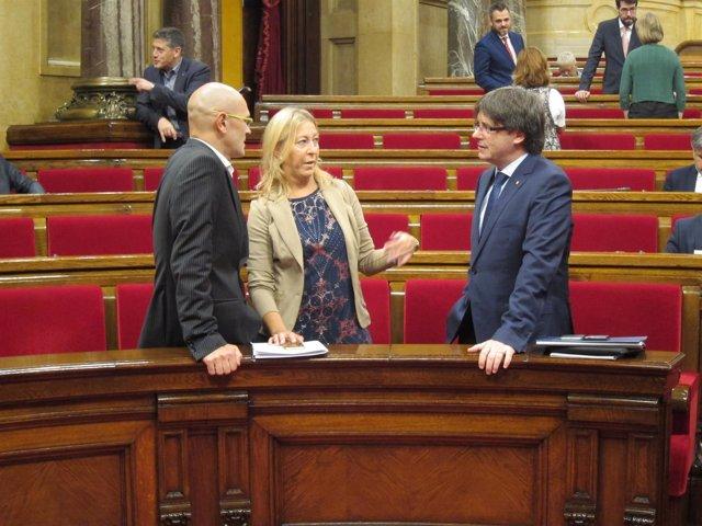 Pte.Carles Puigdemont, consellers Raül Romeva y Neus Munté