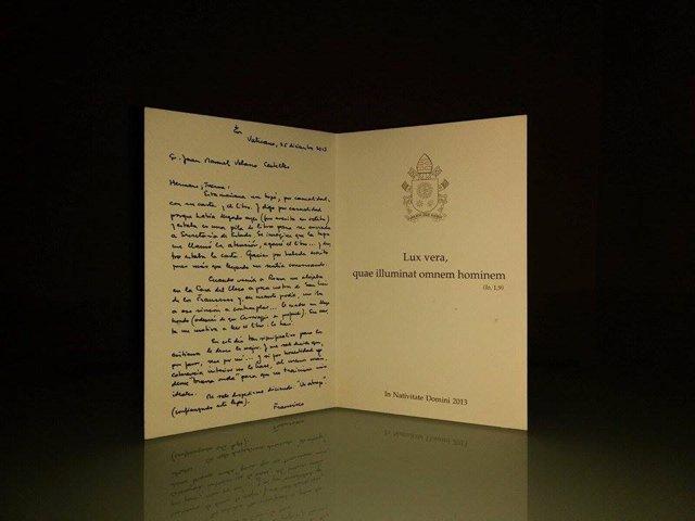 Carta manuscrita del Papa Francisco al escritor Juanma Velasco