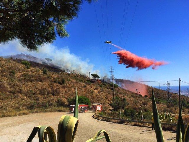 Avioneta actúa sobre el incendio en Collserola (Barcelona)