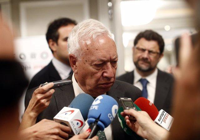 José Manuel García Margallo en un desayuno de Foro América
