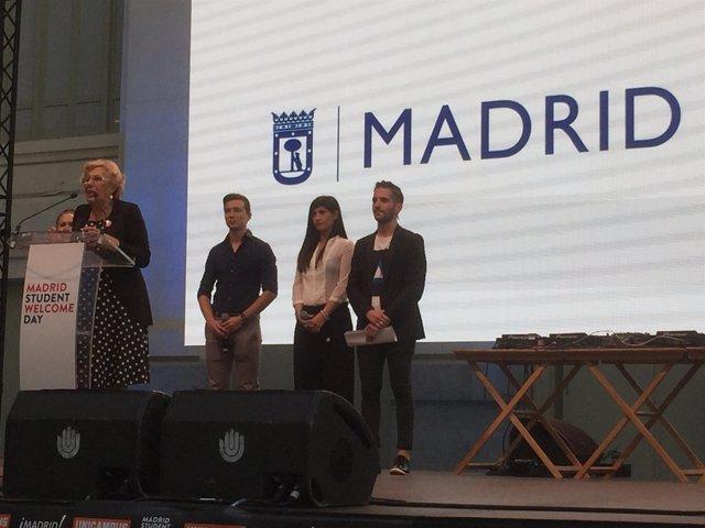 Manuela Carmena, durante su intervención en el 'Madrid Student Welcome Day'