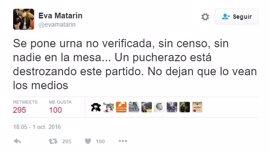 """Eva Matarín denuncia en Twitter las urnas puestas por Sánchez: """"Un pucherazo está destrozando este partido"""""""