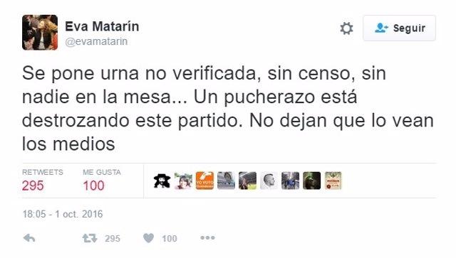 Tuits de Eva Matarín sobre el Comité Federal del PSOE