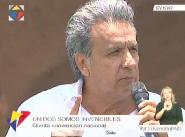 El candidato presidencial de Alianza País, Lenin Moreno