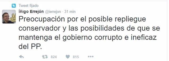 Tweet de Errejón tras la dimisión de Sánchez