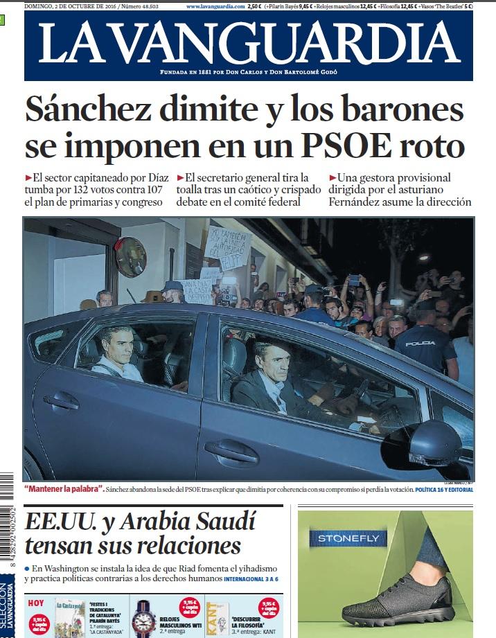 portada LA VANGUARDIA 2 octubre