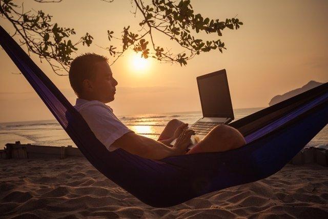 Playa, hombre, trabajo