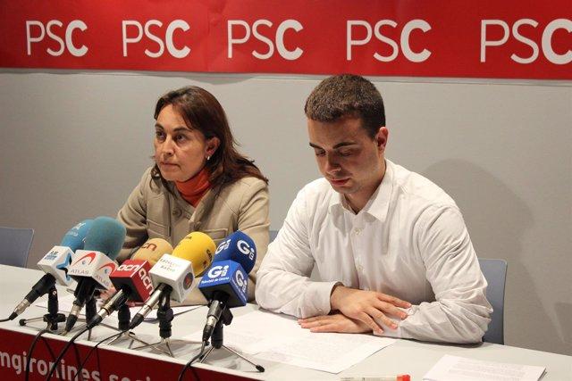 S.Paneque y D.Maldonado del PSC de Girona