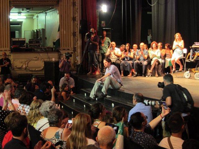 Pablo Iglesias en un mitin de Almería