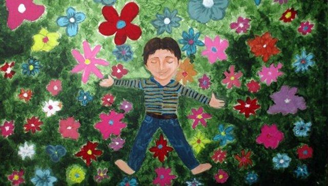 Una de las obras de esta exposición sobre los niños refugiados