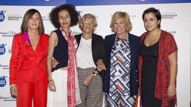 Charo Izquierdo, Oula Ramadan, Manuela Carmena, EsperanzPertusa y Reem Alhaswani
