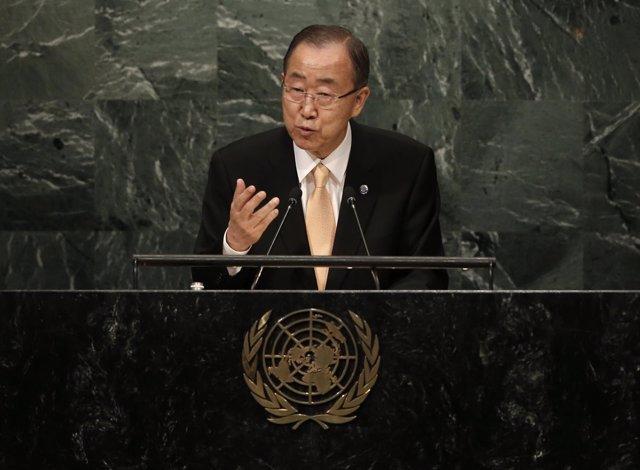 Ban Ki Moon habla ante la Asamblea General de la ONU