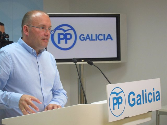 El secretario xeral del PPdeG, Miguel Tellado, en comparecencia de prensa