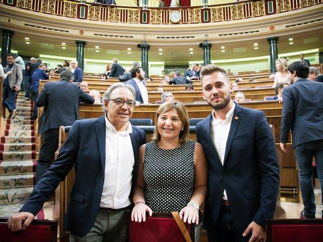 Manolo Mata (PSOE, Isabel Bonig (PP) y Fran Ferri (Compromís)