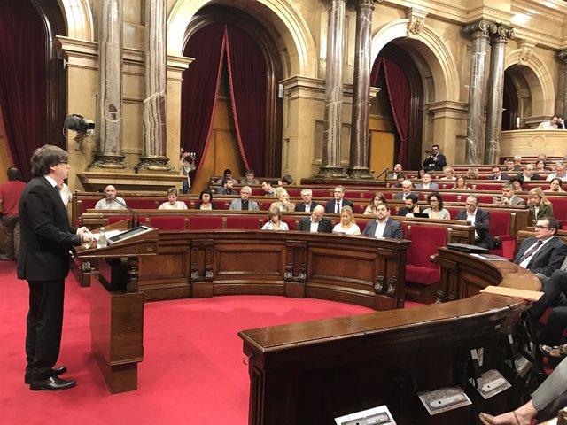 El presidente catalán, Carles Puigdemont, en el Debate de Política General