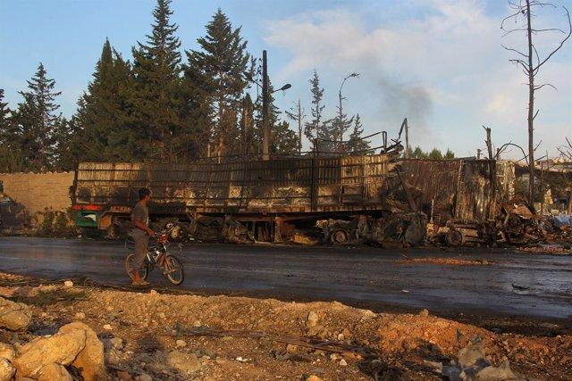 Bombardeo contra convoy de ayuda cerca de Alepo