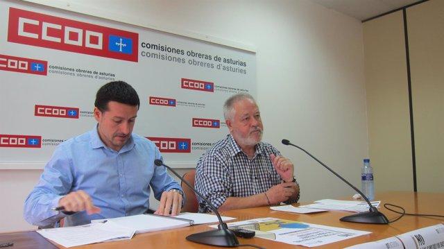 Por la izquierda, Lanero y Pino, en rueda de prensa.