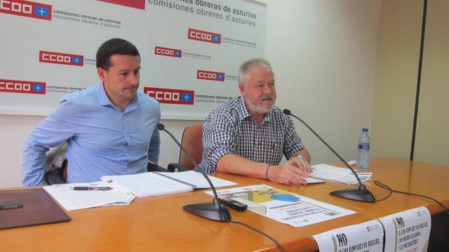 Por la izquierda, Lanero y Pino en rueda de prensa.