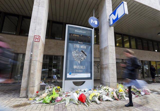 Estación de metro de Maelbeek, escenario de atentados de Bruselas