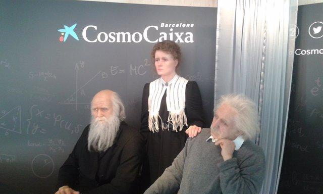 Figuras de C.Darwin, M.Curie y A.Einstein, en el CosmoCaixa