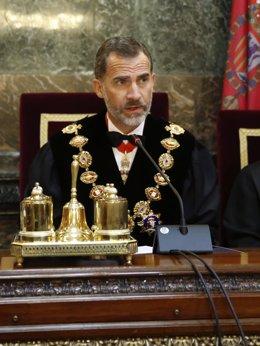 El Rey Felipe VI durante la ceremonia de la apertura del Año Judicial