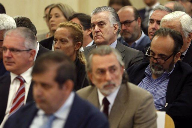 Luis Bárcenas, Francisco Correa y Pablo Crespo en el juicio por Gürtel