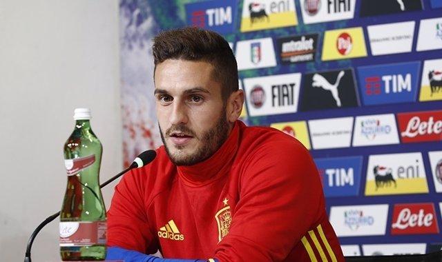 Jorge Resurrección 'Koke', en rueda de prensa con la selección española