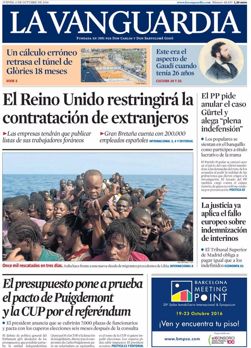 Las portadas de los peri dicos de hoy jueves 6 de octubre for Noticias actuales de espectaculos