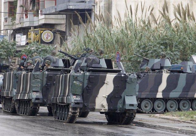 Ejército de Líbano en las calles de Trípoli