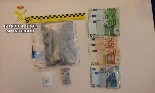 Droga y dinero incautados en el Areropuerto de Lanzarote
