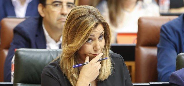 Susana Díaz, en la sesión de control al gobierno del Parlamento andaluz