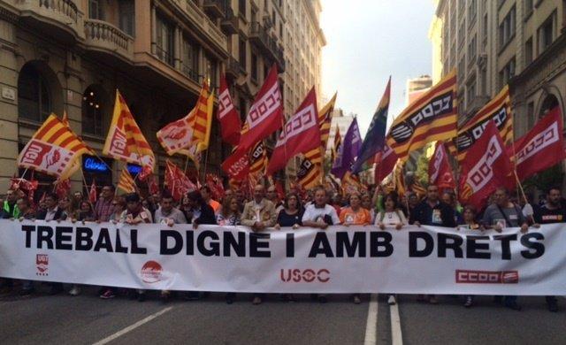 Los sindicatos se han manifestado en la Vía Laietana de Bcn