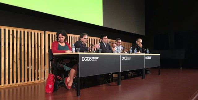 Joan Subirats, Gerardo Pisarello, Paul Mason y Evgeny Morozov
