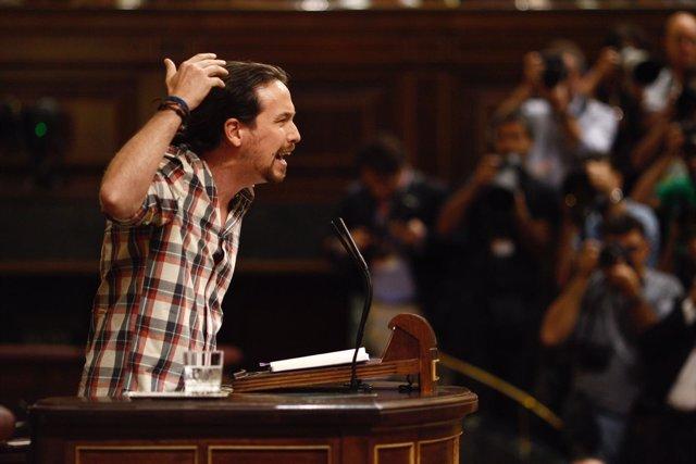 Pablo Iglesias en el debate de investidura de Rajoy