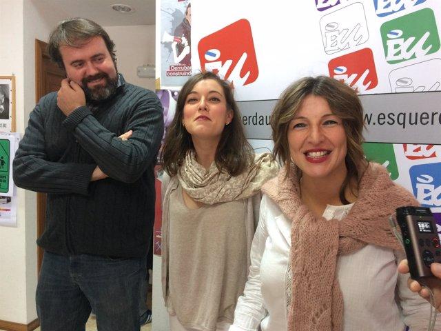 Rubén Pérez, Eva Solla y Yolanda Díaz de Esquerda Unida