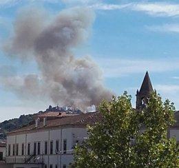 Incendio en las inmediaciones de Cáceres
