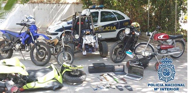 Objetos intervenidos por la Policía Nacional en Málaga