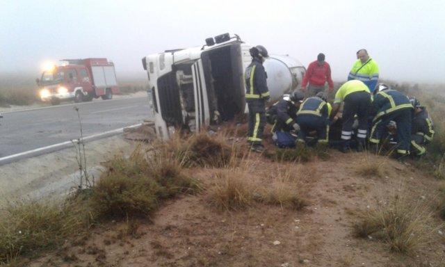 Imagen del accidente en Yecla