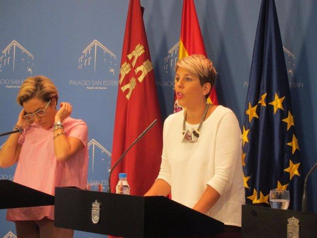 La portavoz del Gobierno regional, Noelia Arroyo, durante la rueda de prensa
