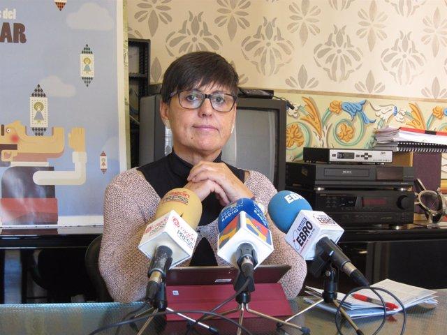 La gerente de Zaragoza Cultural, Elena Laseca, hoyen rueda de prensa