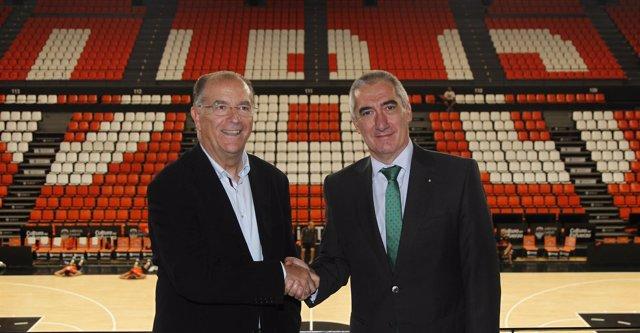 Paco Raga (Valencia Basket) y Mariano Martínez (Zurich Seguros)