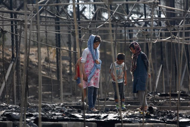 El centro de refugiados de Moria tras el incendio del 19 de septiembre de 2016