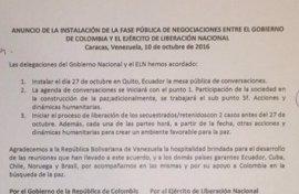La fase pública del diálogo de paz entre el Gobierno y el ELN arrancará el próximo 27 de octubre