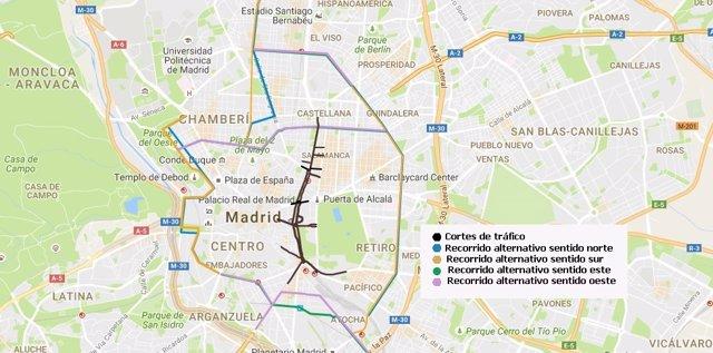 Cortes de tráfico y alternativas desfile 12 de octubre