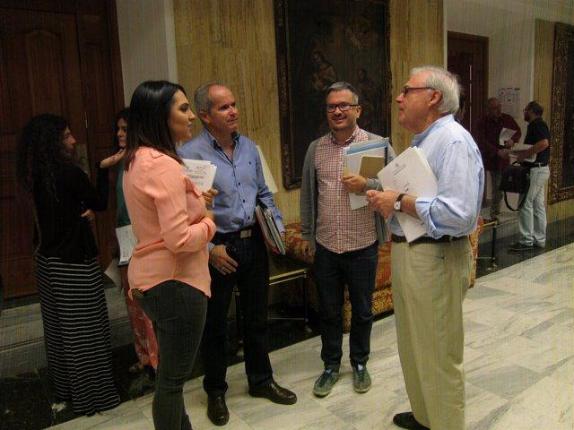 Concejales de PSOE y Ganemos